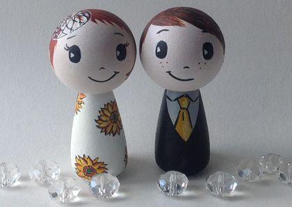 Sunflower bride and groom
