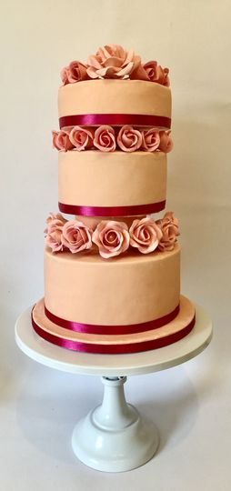Peach and Pink Roses.