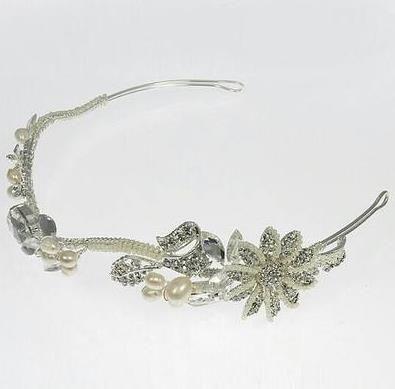 silver crystal freshwater pearls flowers tiara 4 108326