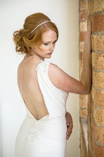 Open back jersey wedding dress