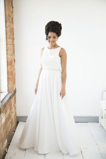 Romantic style satin gown