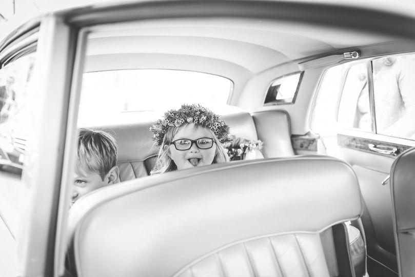 Wedding car, tongue out.