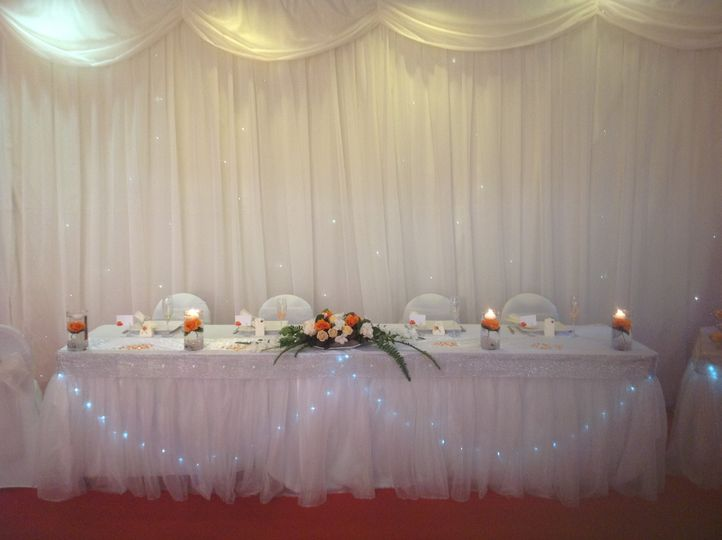 Top table and curtain