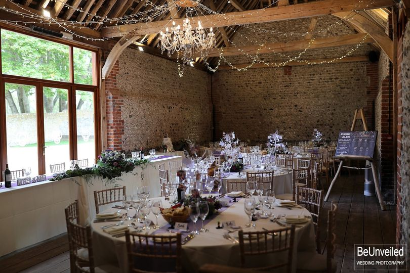 Top and round table set-up with our Crystal Chandelier