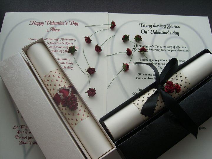 Valentine poem scrolls