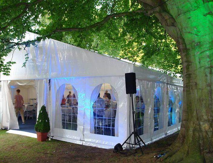 A large garden wedding