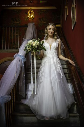Bride descending the stairs