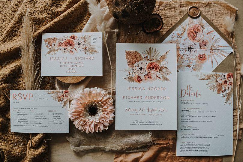 design by emily pampas boho bohemian dried foliage floral wedding stationery invitations 4 4 178457 159557793789275
