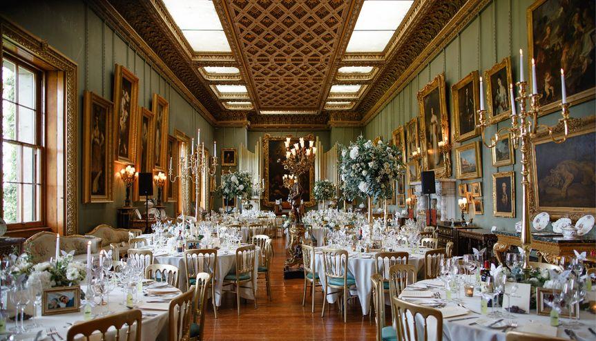 Wedding Breakfast Set up in Somerley House