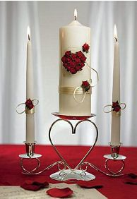 Red candle centrepiece