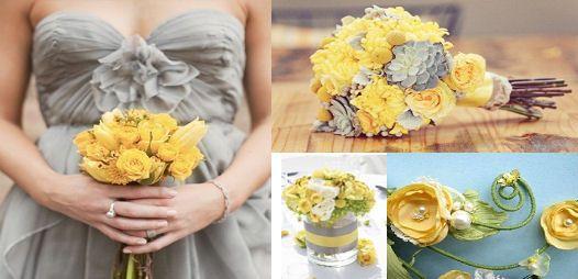 Yellow and grey spring wedding