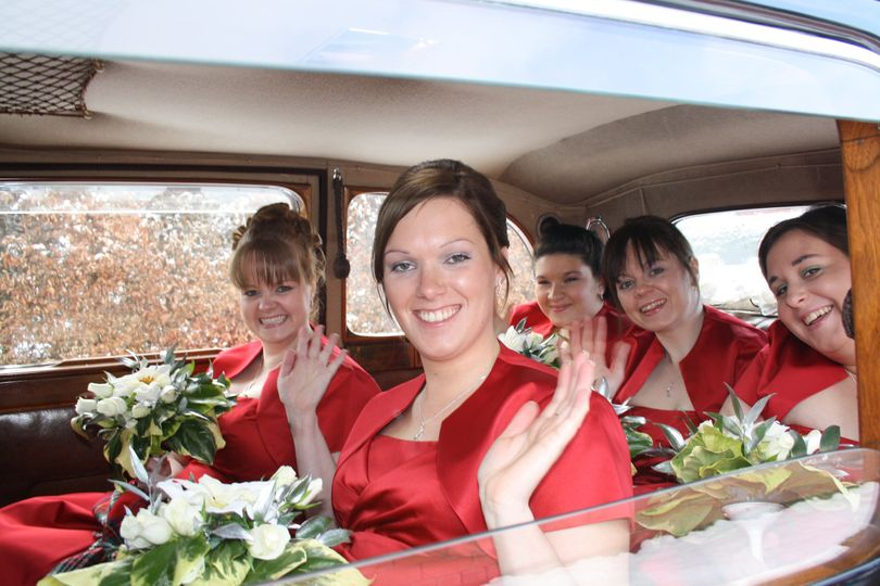 Candice carrying five bridesmaids
