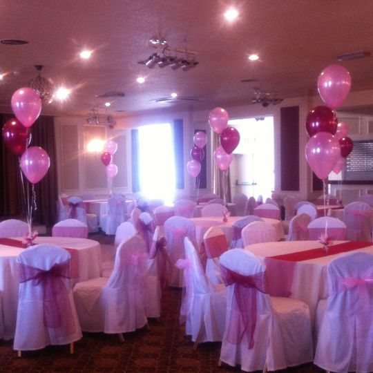Chair covers, runners,balloons