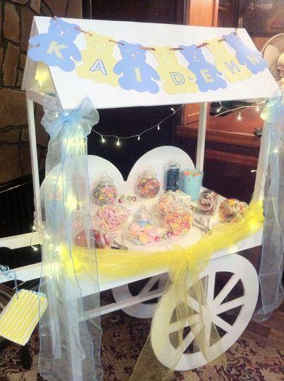 Blue and lemon mini cart