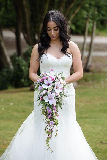 Pink Magnolia Cascading Artificial Wedding Flowers Bouquet