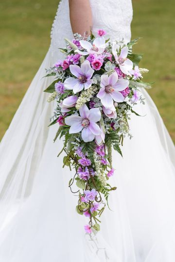 Pink Magnolia Cascading Silk Wedding Bridal Flowers Bouquet