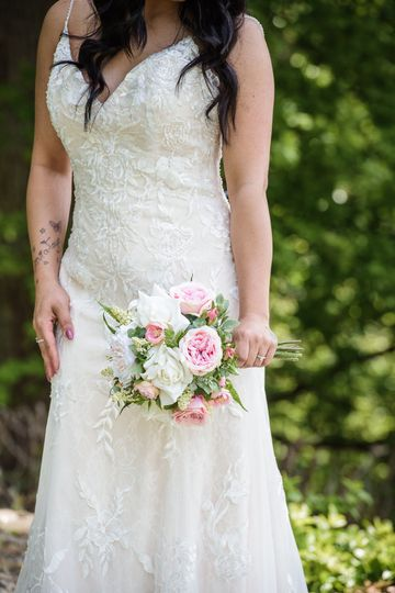 Pink White Rose Handtied Posy Artificial Wedding Bridal Flowers Bouquet