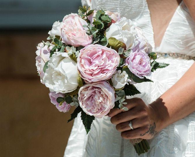 Pink White Peony Handtied Posy Silk Wedding Bridal Flowers Bouquet