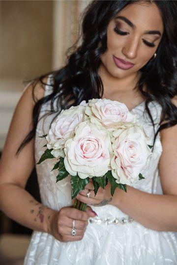 Pink Roses Handtied Wedding Bouquet