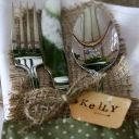 Hessian cutlery table places