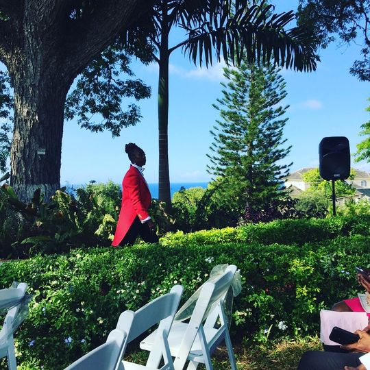 Waiting for wedding guests and enjoying the view at Cecille's Garden Runaway Bay, Jamaica