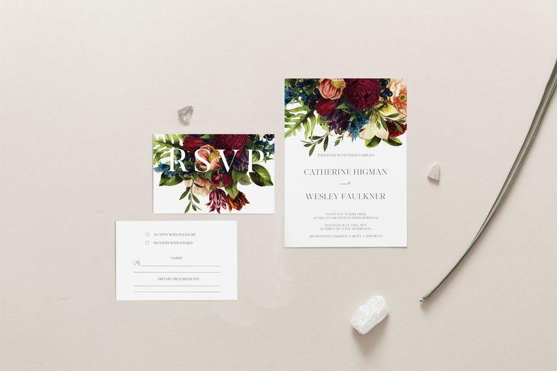 Burgundy Floral wedding set