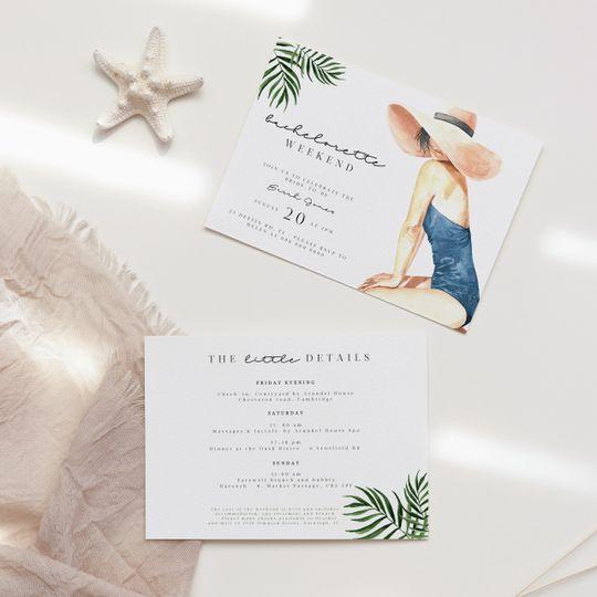 Beach bachelorette invites