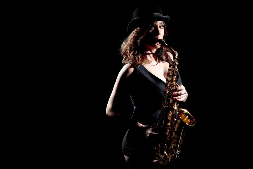 Sally and her saxophone.