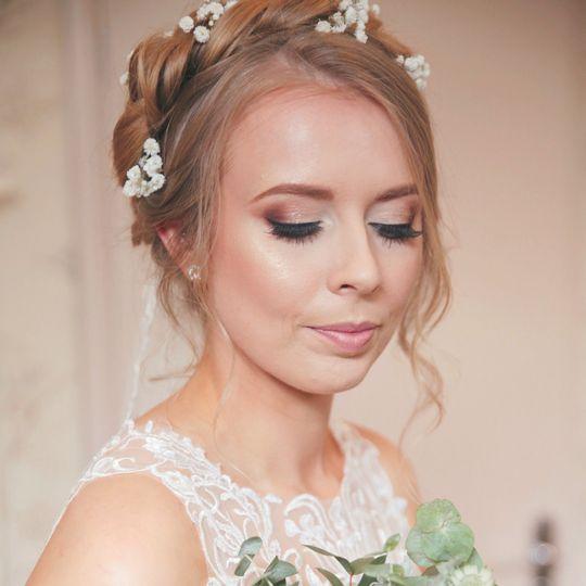 Boho bride hair and makeup