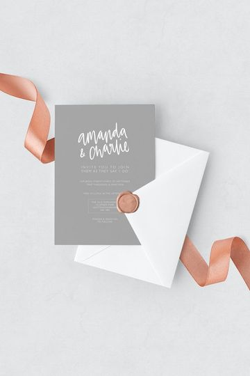 Grey & white wedding invitation