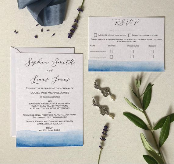 Hand painted invitation suite
