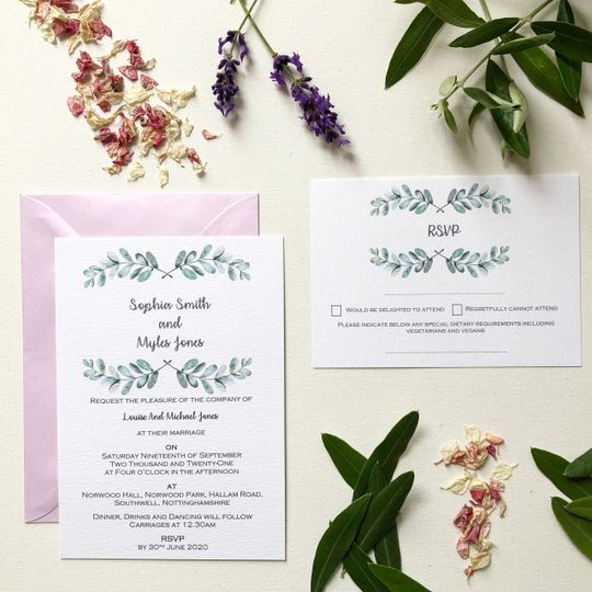 Foliage print invitation suite