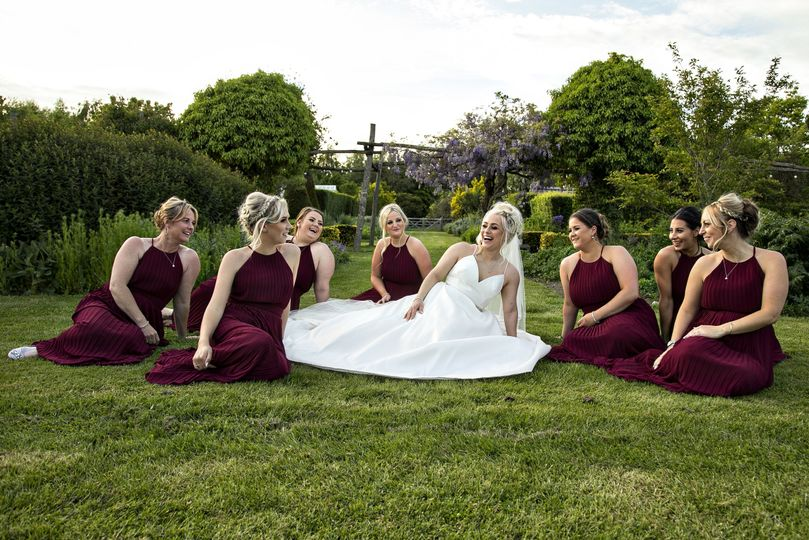 Wedding party on the lawn