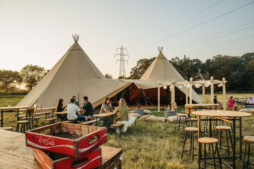 Outside wedding in a tipi