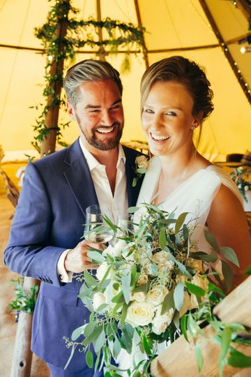 Newlyweds in the tipi tent