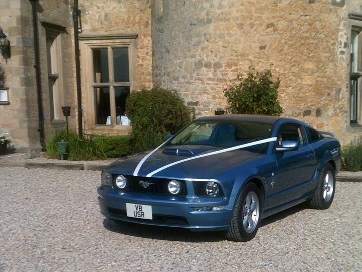 Sleek, modern V8 blue Mustang