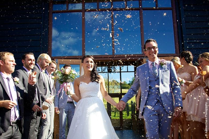 Just married at Upwaltham Barns wedding venue