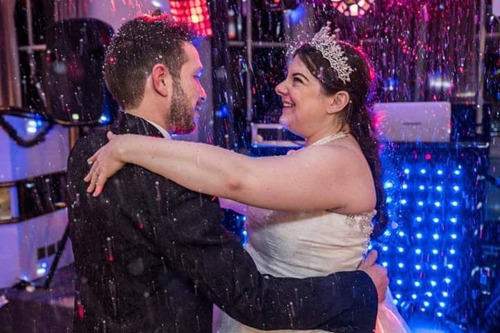 Winter wedding with snow