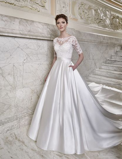 Satin wedding gown with lace sleeves