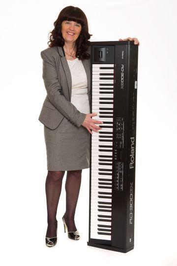 Karen with her keyboard
