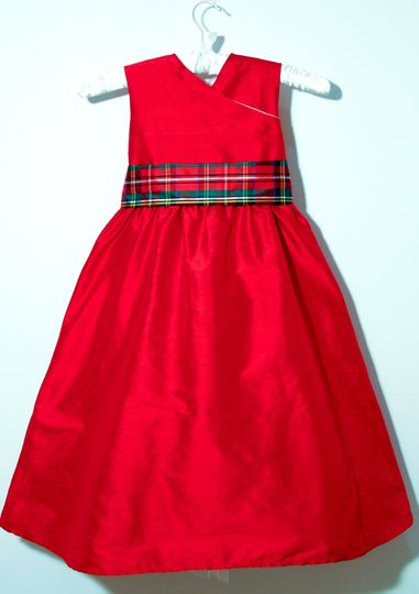 'Scarlet' red silk flower girl dress with tartan sash