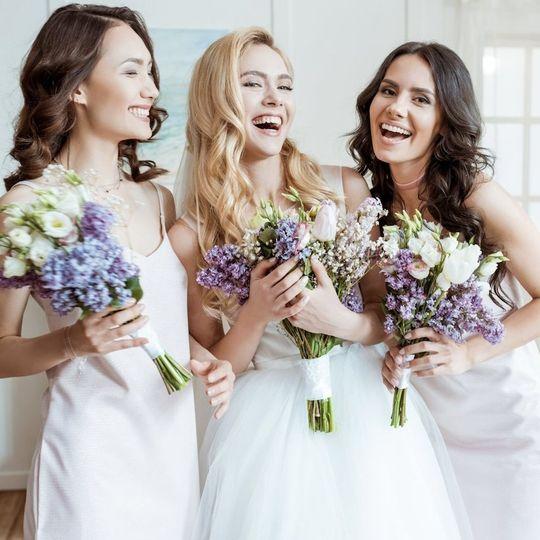 Bridesmaids at garden wedding