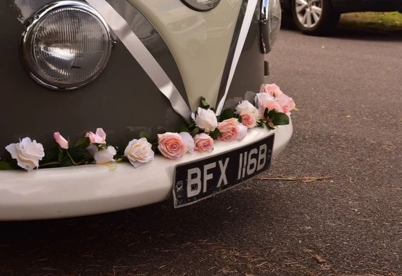 Floral decor on Bert the VW van