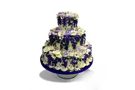 3 tier with purple flowers
