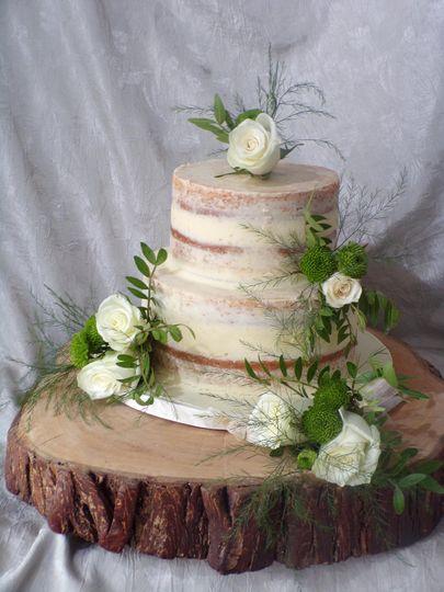2 tier naked wedding cake