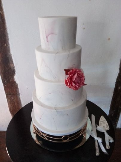 4 tier marbled wedding cake