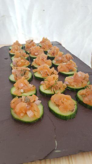 Salmon tartare, cucumeber