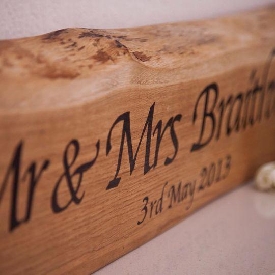 Solid oak wedding plaque