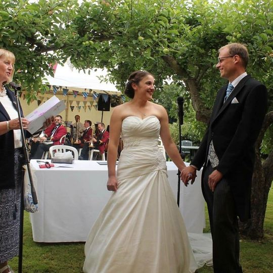 Exchanging vows outdoors