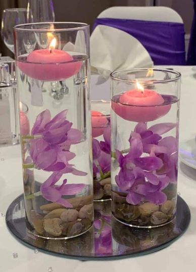 Floral and candle centrepiece